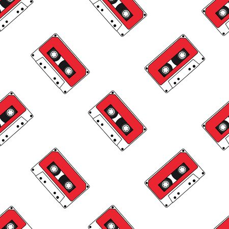 Seamless pattern with audio cassettes isolated on white background. Vector illustration
