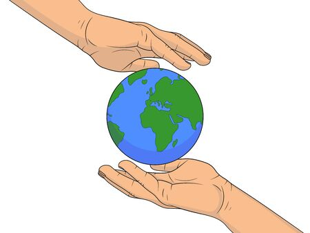 Planet Earth in the hands of man. Vector illustration isolated on white background