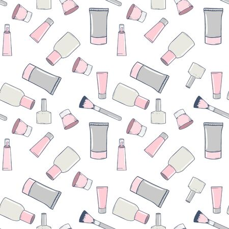 Seamless pattern with hand-drawn cosmetics. Collection of jars, brushes, tubes and bottles in doodle style. Vector illustration Illustration