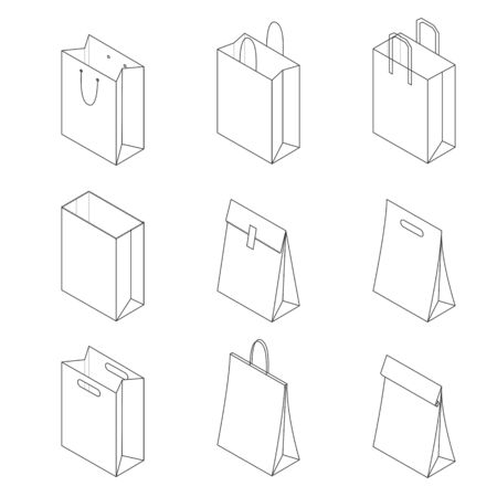Collection of paper bags isolated on white background. Vector illustration Zdjęcie Seryjne - 134559367