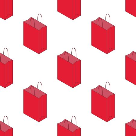 Seamless pattern with isometric paper bag isolated on white background. Vector illustration Zdjęcie Seryjne - 134559374