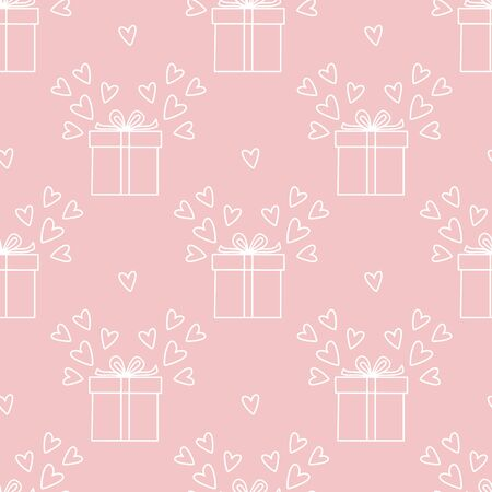 Seamless pattern with gift boxes and hearts. Vector illustration