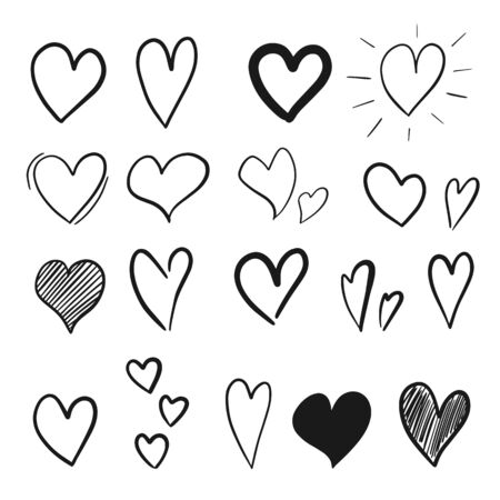 Collection of hand drawn hearts isolated on white background. Vector illustration Illustration