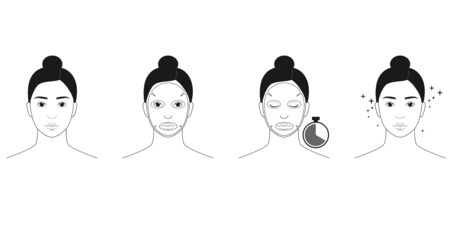 Instructions for the use of tissue masks for the face. Vector illustration isolated on white background