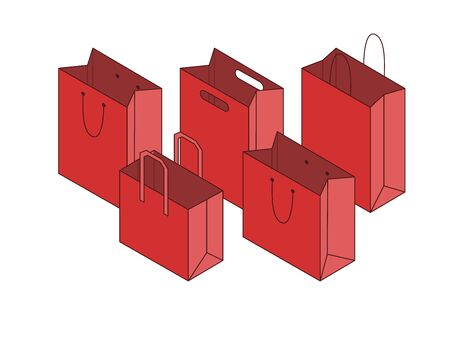 Composition with red paper bags isolated on white background. Vector illustration