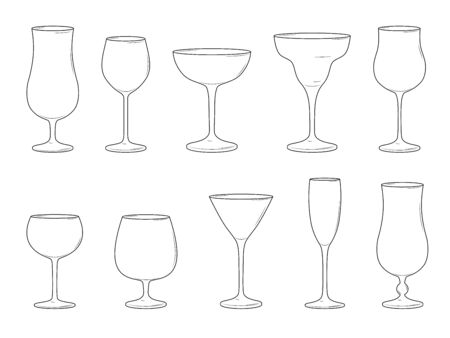 Various cocktail glasses isolated on white background. Vector illustration