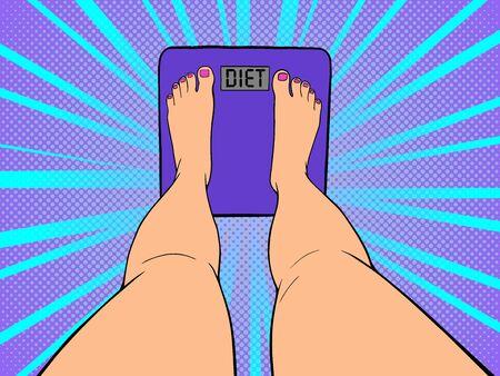 Bare feet on the scales. Weight measurement concept. Pop Art vintage vector illustration Ilustração