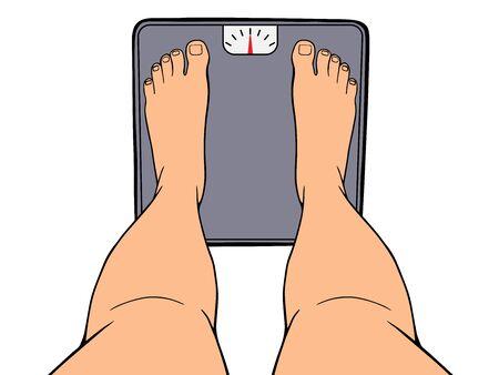 Bare feet on the scales. Weight measurement concept. Vector illustration Ilustração