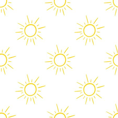 Seamless pattern with hand-drawn suns isolated on white background. Vector illustration