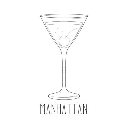 Alcoholic cocktail - manhattan with cherry isolated on white background. Vector illustration