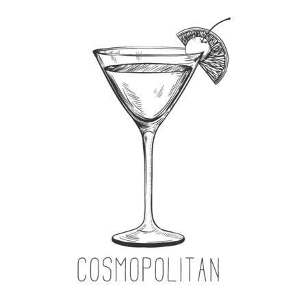 Cocktail alcoolisé - cosmopolite avec citron vert et cerise isolé sur fond blanc. Illustration vectorielle dessinés à la main