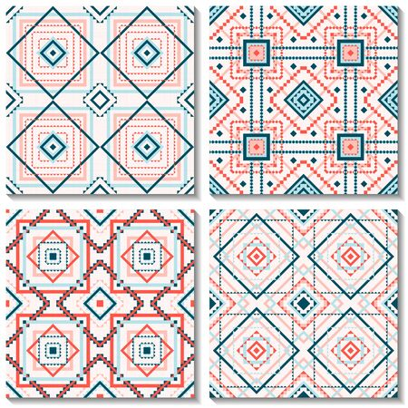Tribal vector seamless pattern collection. Aztec fancy abstract geometric art print. Ethnic hipster backdrop. Wallpaper, cloth design, fabric, paper, cover, textile design template