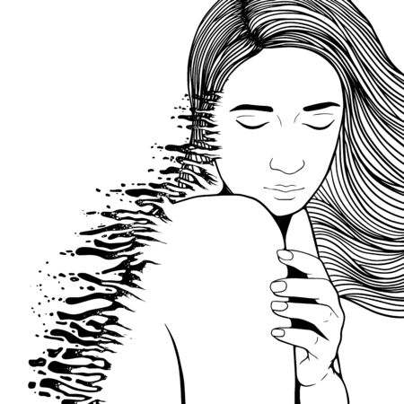 The girl is falling apart. The concept of depression, pain, poor emotional state. Vector illustration