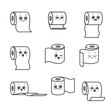 Set of cute cartoon toilet paper rolls with faces. Emoji collection. Vector illustration