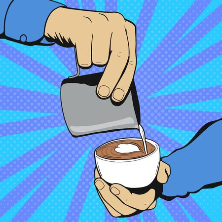 Barista hold cup and making latte or cappuccino art coffee with milk. Pop Art vintage vector illustration