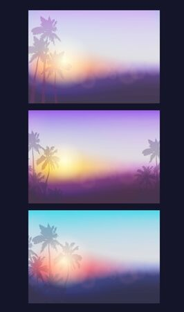 Collection of backgrounds with silhouette of palm trees and tropical sunrise. Vector illustration