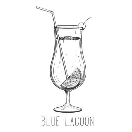 Alcoholic cocktail - isolated on white background. Hand-drawn vector illustration Ilustração