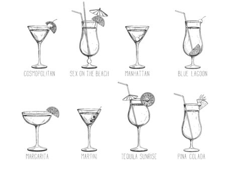Alcoholic cocktail collection -  manhattan, martini, tequila sunrise, pina colada, margarita, sex on the beach, cosmopolitan isolated on white background. Hand-drawn vector illustration