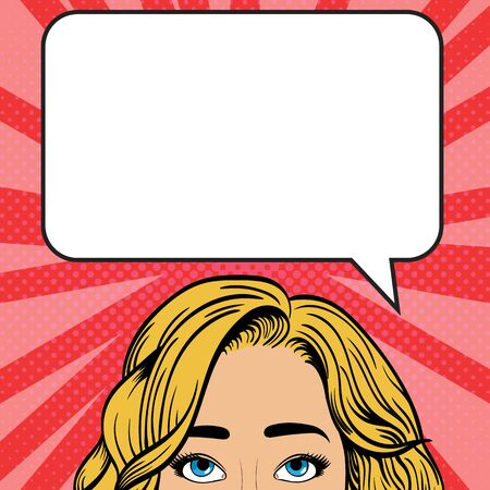 The girl is looking up. Speech bubble above the head with place for text. Vintage vector illustration in pop art style