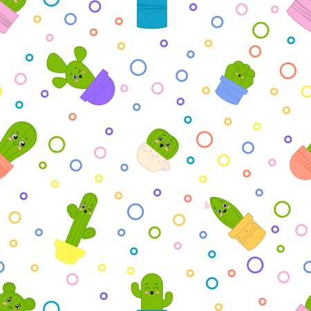 Seamless pattern with cute   сartoon cactuses with faces. Vector illustration
