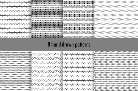 Collection of simple hand-drawn patterns with geometric ornament. Vector illustration