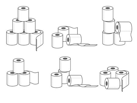Collection of different groups of toilet paper rolls. Vector illustration 向量圖像
