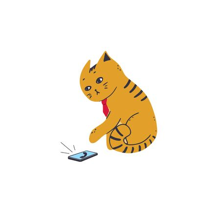 The cat in a tie answers the call to the smartphone. Vector illustration in simple cartoon style