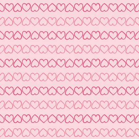 Simple hand-drawn pattern with red hearts. Vector illustration