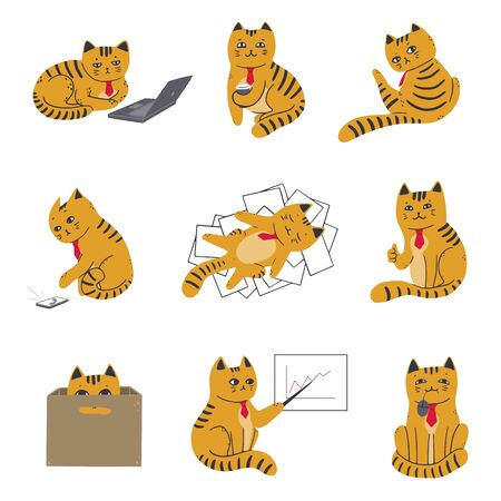Collection of cats in a red tie in the office. A cat behind a laptop, among documents, with coffee, in a box, at a meeting. Vector illustration in simple cartoon style
