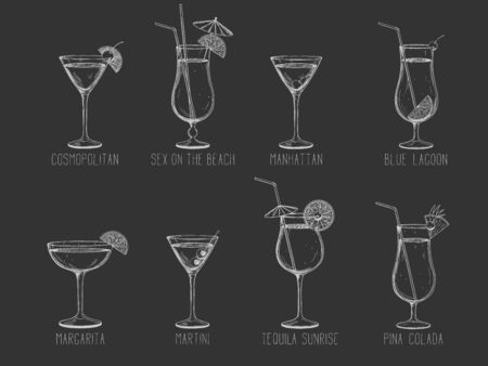 Alcoholic cocktail collection - manhattan, martini, tequila sunrise, pina colada, margarita, on the beach, cosmopolitan. Hand-drawn vector illustration