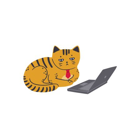 A sad cat in a red tie sits in front of a laptop. Vector illustration in simple cartoon style