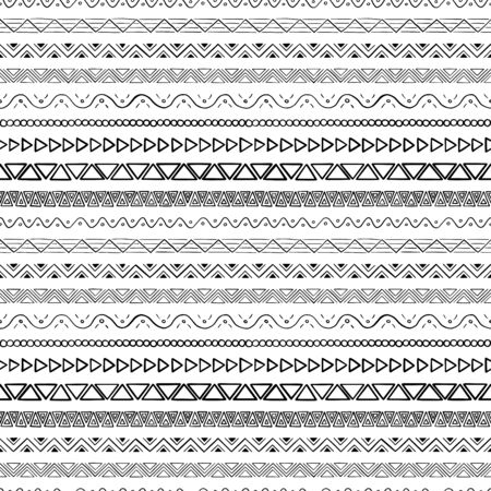 Simple hand-drawn pattern with geometric ornament. Vector illustration