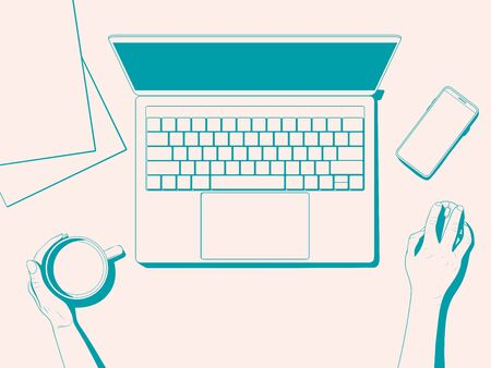 Flatlay with a workplace. Office desk top view - hands with a cup of coffee, laptop, phone and paper. Vector illustration