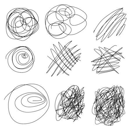 Set of hand drawn scribble line shapes. Vector illustration Imagens - 138918411