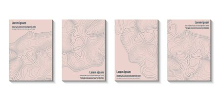 Abstract topographic brochure design templates collection. Book design, blank, print design, journal. Brochure template. Layout vector template in A5 size 向量圖像