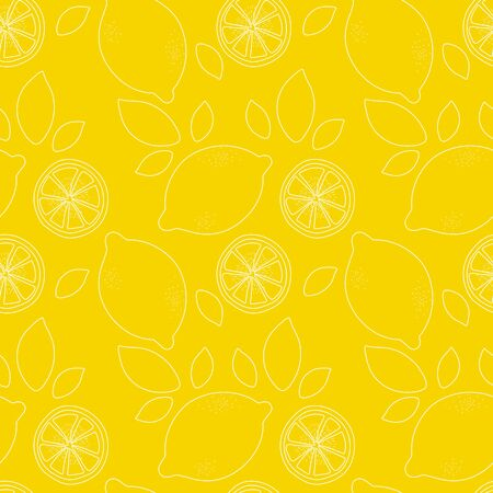 Seamless pattern with slices of lemon. Hand-drawn juicy fruit and leaves. Vector illustration