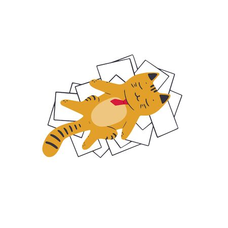 A contented cat in a red tie lies on a pile of papers. Vector illustration in simple cartoon style 向量圖像