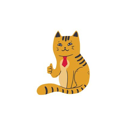 Contented cat in a red tie shows thumb up. Vector illustration in simple cartoon style
