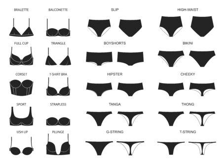 Types of women's panties and bras. Set of underwear. Vector illustration
