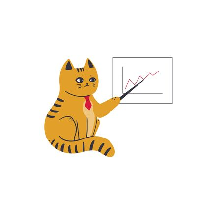A cat in a red tie shows the growth of the chart on a flipchart. Vector illustration in simple cartoon style