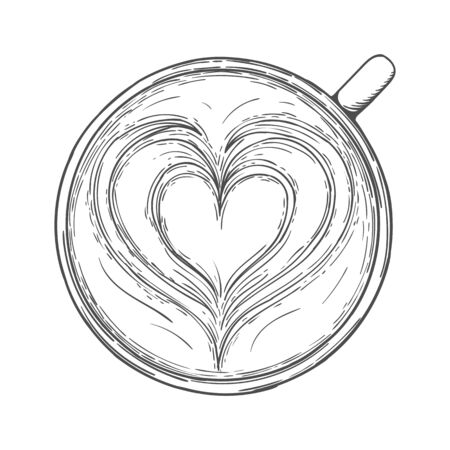 Latte art. Cup of coffee with foam pattern top view isolated on a white background. Vector illustration