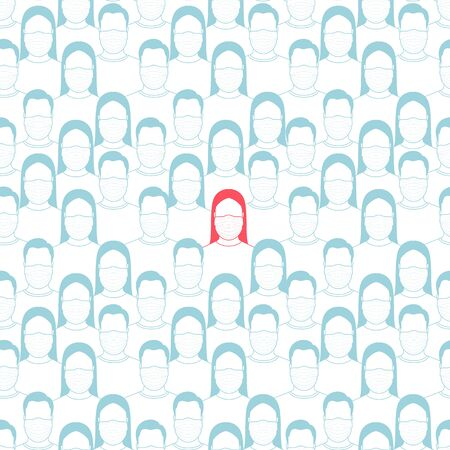 The concept of an infected person in a crowd. Seamless pattern. Vector illustration