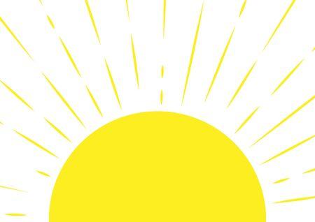 Medio sol. Fondo soleado en estilo ingenuo. Ilustración vectorial