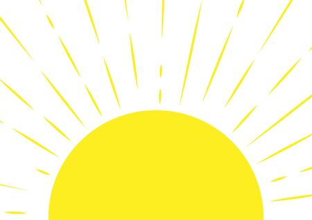 Mezzo sole. Sfondo soleggiato in stile ingenuo. Illustrazione vettoriale