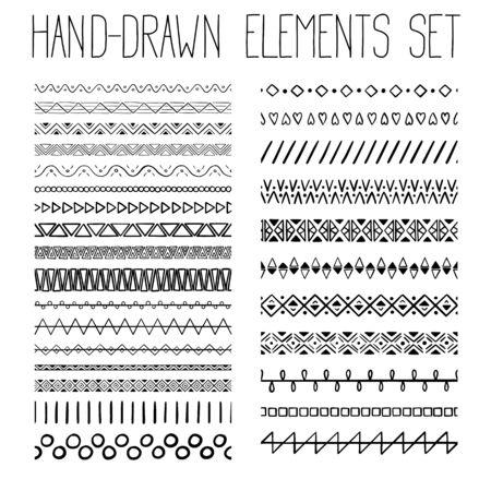 Collection de motifs simples dessinés à la main avec ornement géométrique. Illustration vectorielle Vecteurs