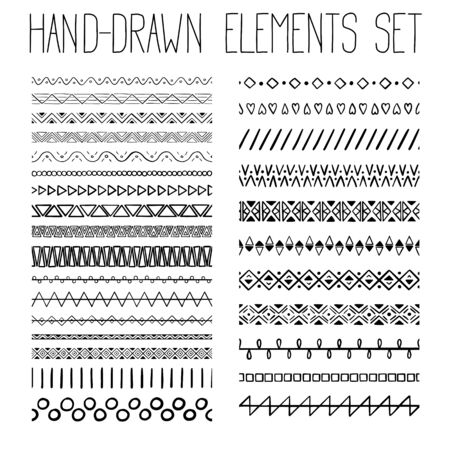 Collection of simple hand-drawn pattern with geometric ornament. Vector illustration Vettoriali