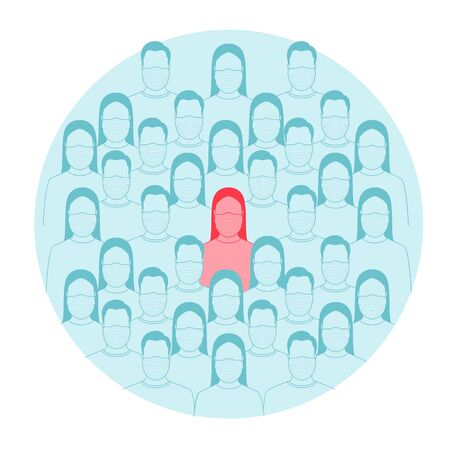 The concept of an infected person in a crowd. Vector illustration