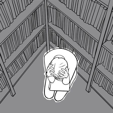 Depressed girl grabs head. Overworked woman. All hands job. Vector illustration Illustration
