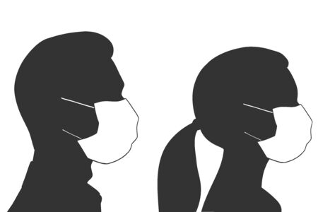 Silhouettes of a man and woman in a medical mask. Girl in profile. Respiratory protection concept. Vector illustration