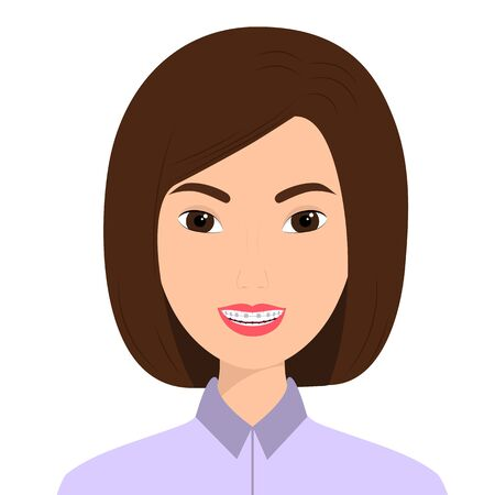 Portrait of a smiling woman with orthodontic braces on her teeth. Vector illustration Ilustracja